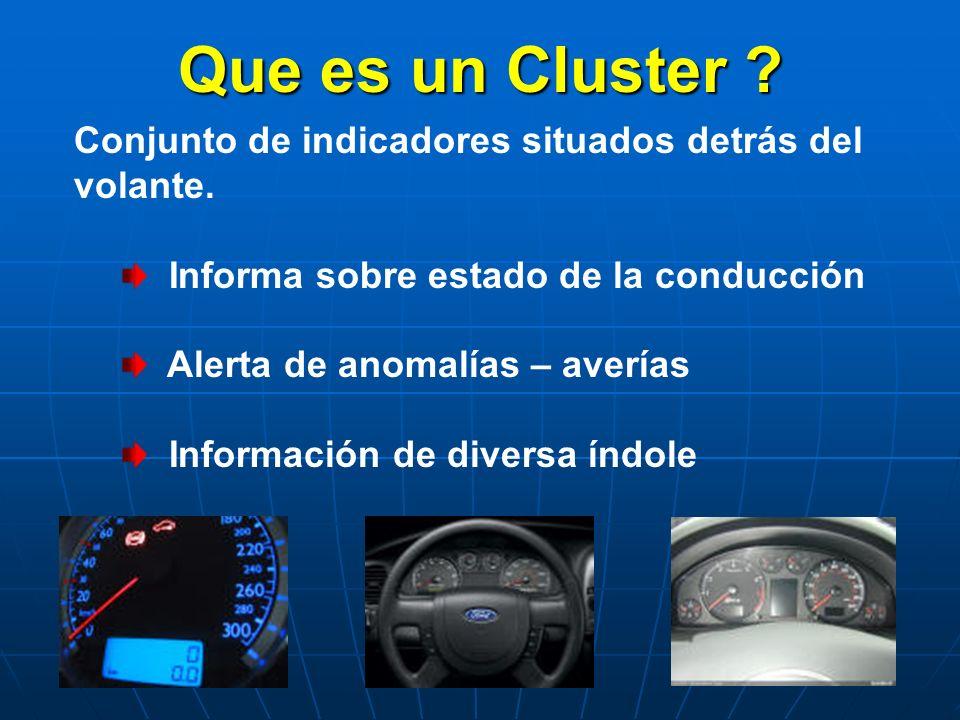 Que es un Cluster Conjunto de indicadores situados detrás del volante. Informa sobre estado de la conducción.