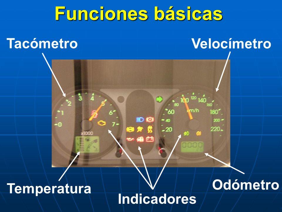 Funciones básicas Tacómetro Velocímetro Odómetro Temperatura