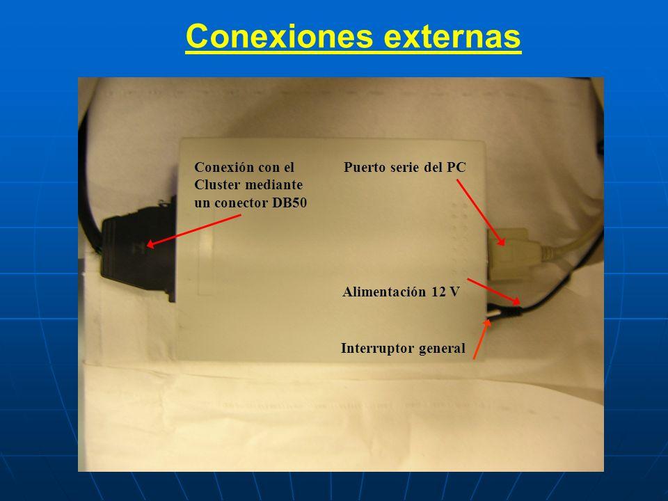 Conexiones externas Puerto serie del PC Alimentación 12 V