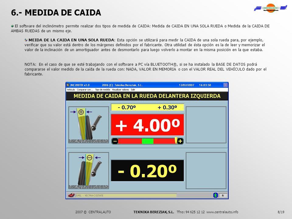 6.- MEDIDA DE CAIDA