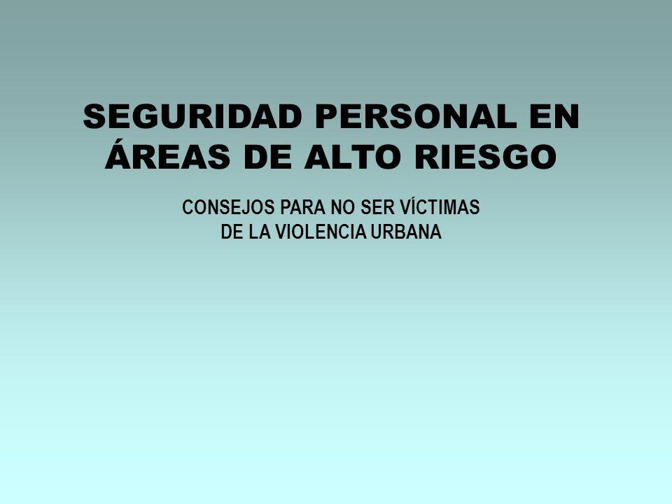 SEGURIDAD PERSONAL EN ÁREAS DE ALTO RIESGO