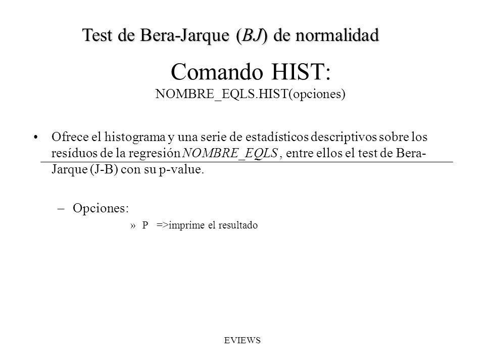 Comando HIST: NOMBRE_EQLS.HIST(opciones)