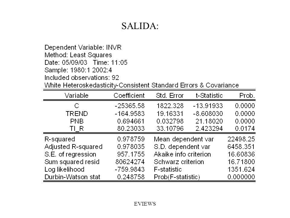 SALIDA: EVIEWS