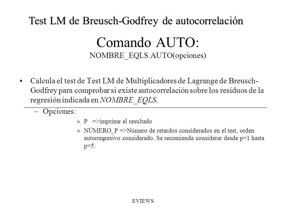 Comando AUTO: NOMBRE_EQLS.AUTO(opciones)