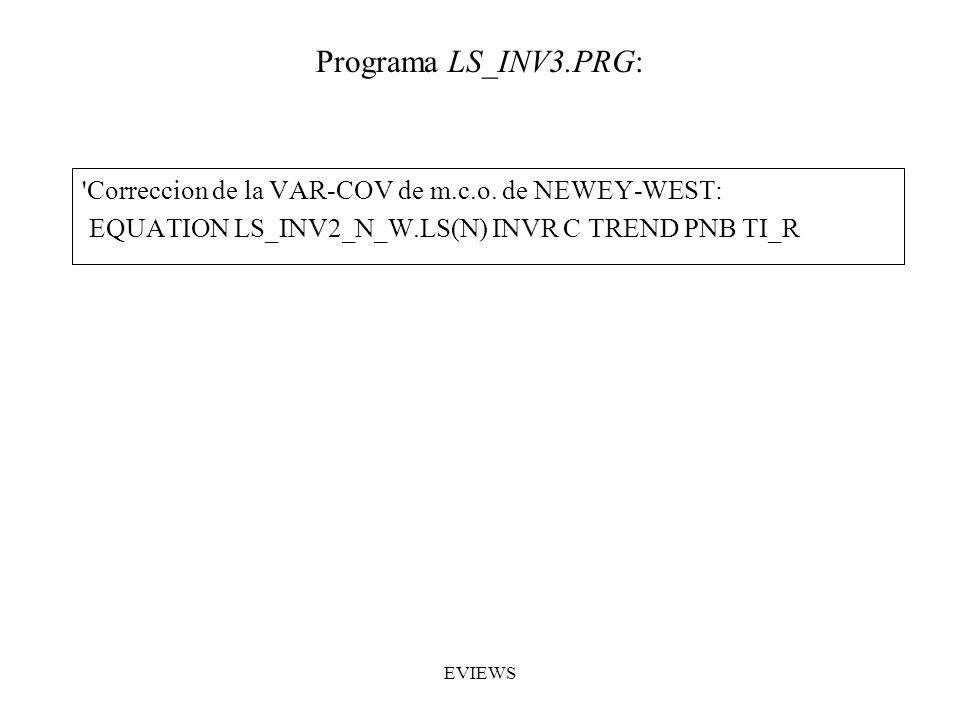 Programa LS_INV3.PRG: Correccion de la VAR-COV de m.c.o. de NEWEY-WEST: EQUATION LS_INV2_N_W.LS(N) INVR C TREND PNB TI_R.