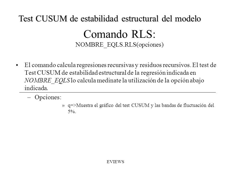 Comando RLS: NOMBRE_EQLS.RLS(opciones)