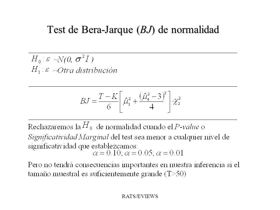 Test de Bera-Jarque (BJ) de normalidad