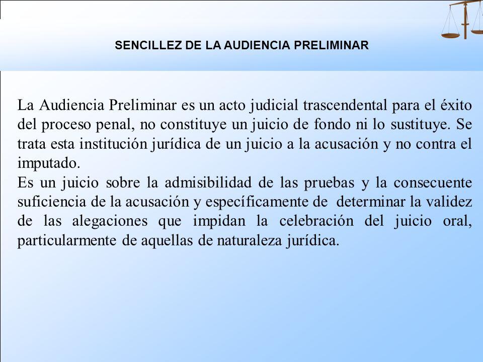 SENCILLEZ DE LA AUDIENCIA PRELIMINAR
