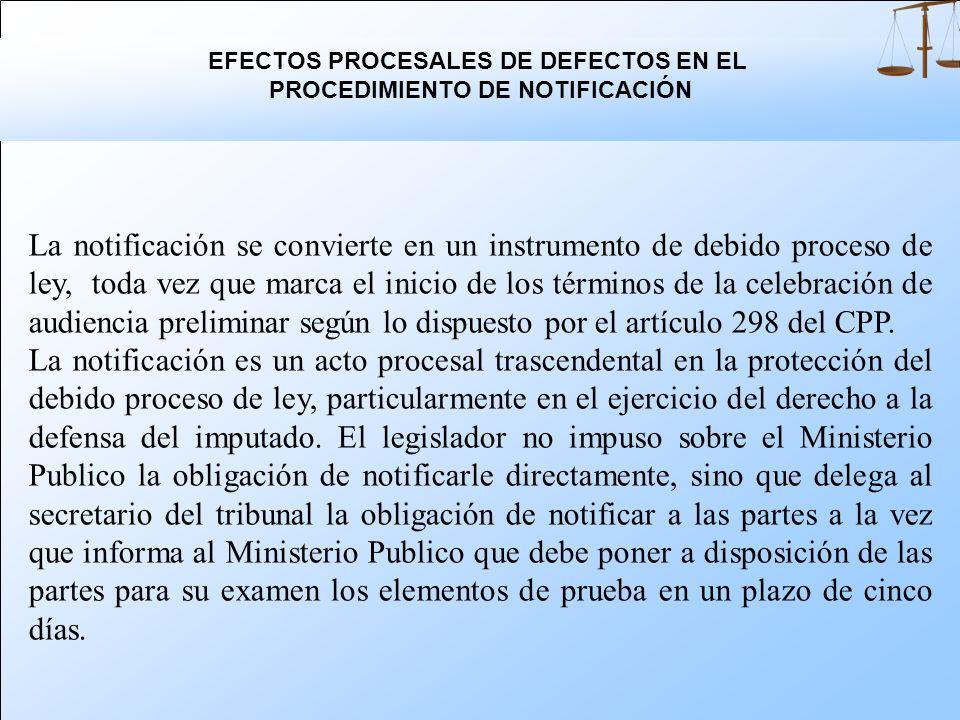 EFECTOS PROCESALES DE DEFECTOS EN EL PROCEDIMIENTO DE NOTIFICACIÓN