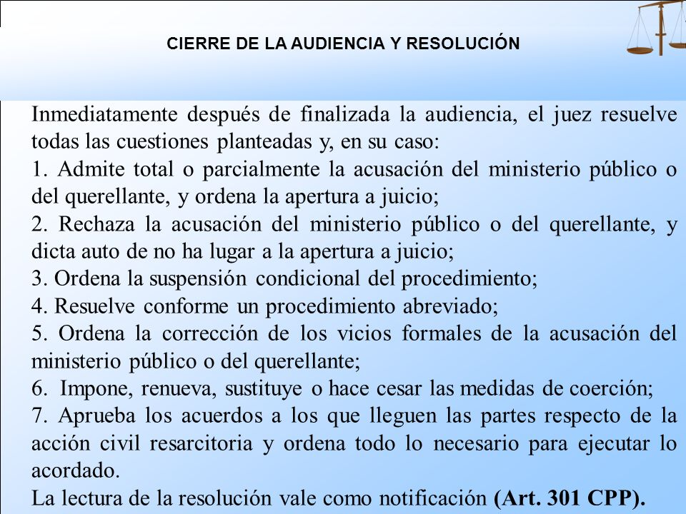 CIERRE DE LA AUDIENCIA Y RESOLUCIÓN