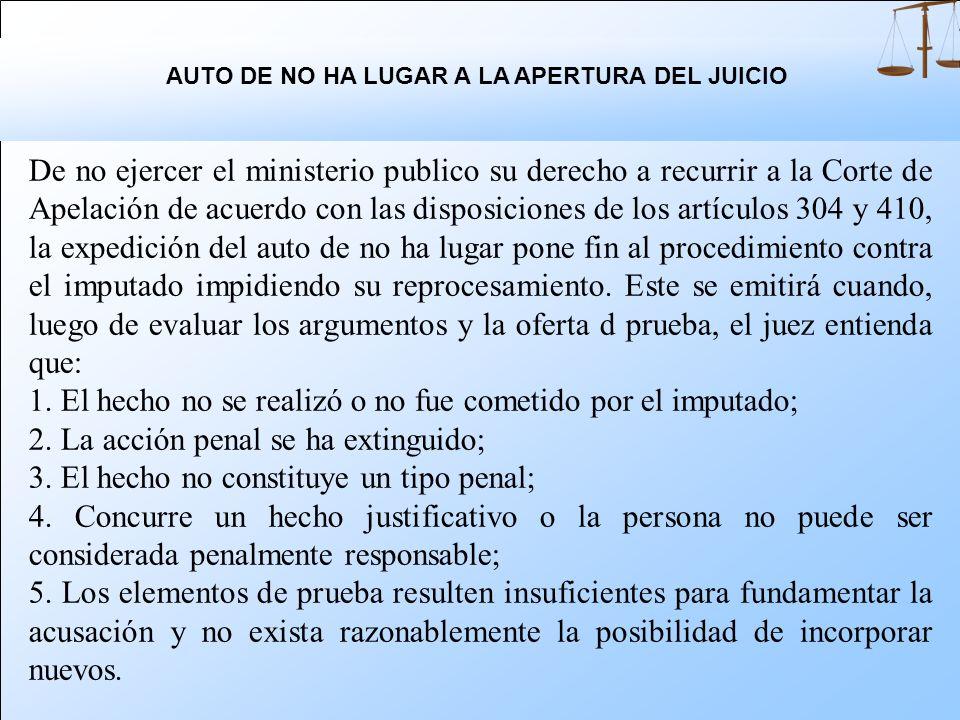 AUTO DE NO HA LUGAR A LA APERTURA DEL JUICIO