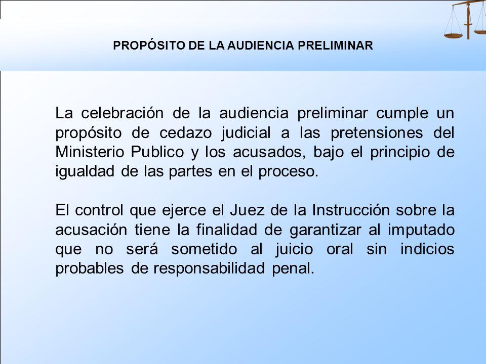 PROPÓSITO DE LA AUDIENCIA PRELIMINAR