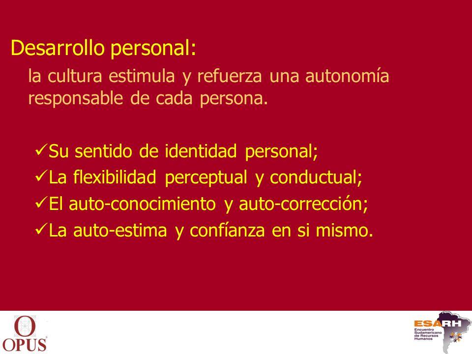 Desarrollo personal: la cultura estimula y refuerza una autonomía responsable de cada persona. Su sentido de identidad personal;