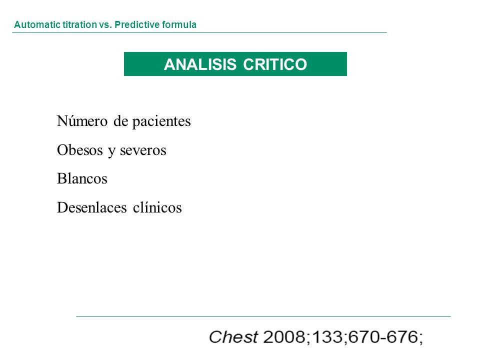 ANALISIS CRITICO Número de pacientes Obesos y severos Blancos