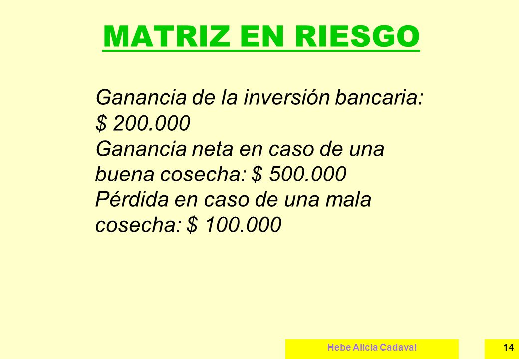MATRIZ EN RIESGO Ganancia de la inversión bancaria: $ 200.000