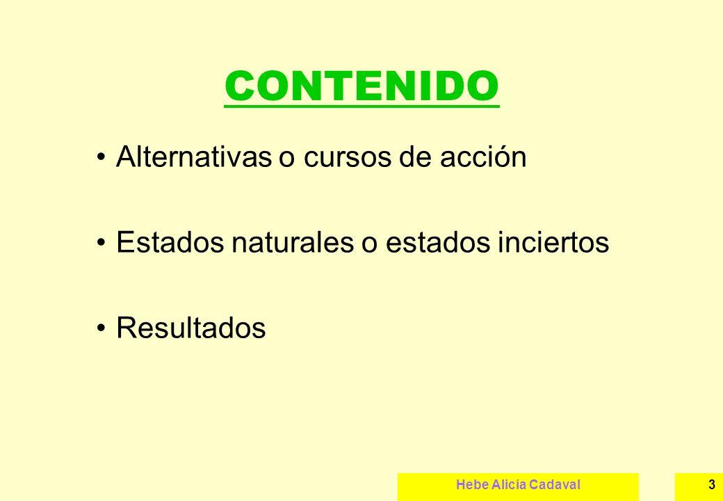 CONTENIDO Alternativas o cursos de acción