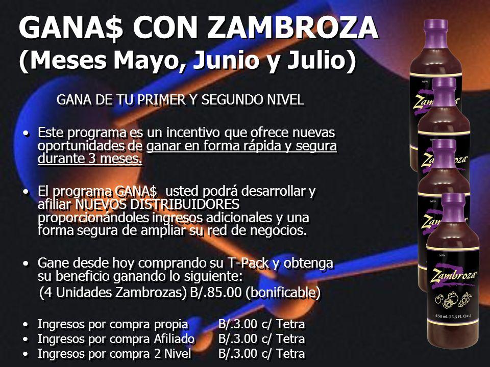 GANA$ CON ZAMBROZA (Meses Mayo, Junio y Julio)