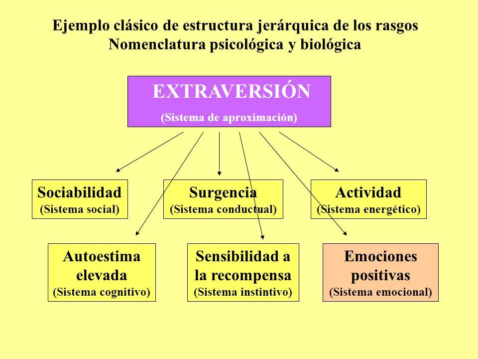 Ejemplo clásico de estructura jerárquica de los rasgos Nomenclatura psicológica y biológica