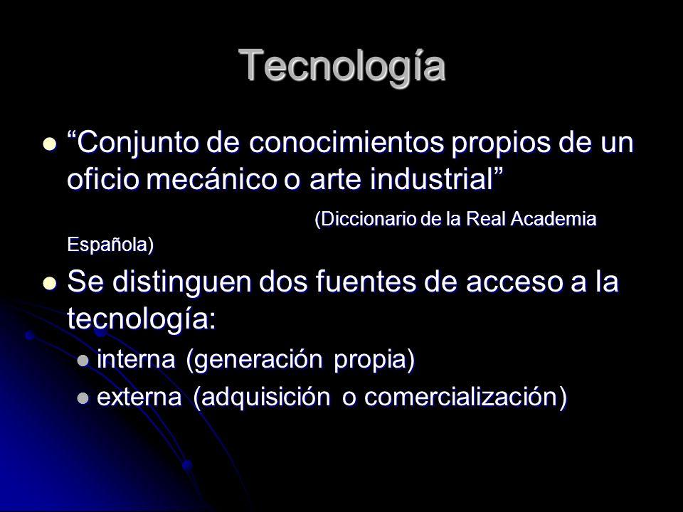 Tecnología Conjunto de conocimientos propios de un oficio mecánico o arte industrial (Diccionario de la Real Academia Española)