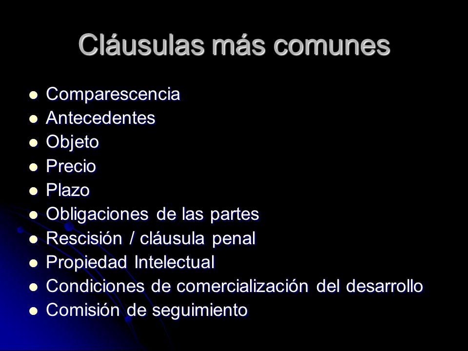 Cláusulas más comunes Comparescencia Antecedentes Objeto Precio Plazo