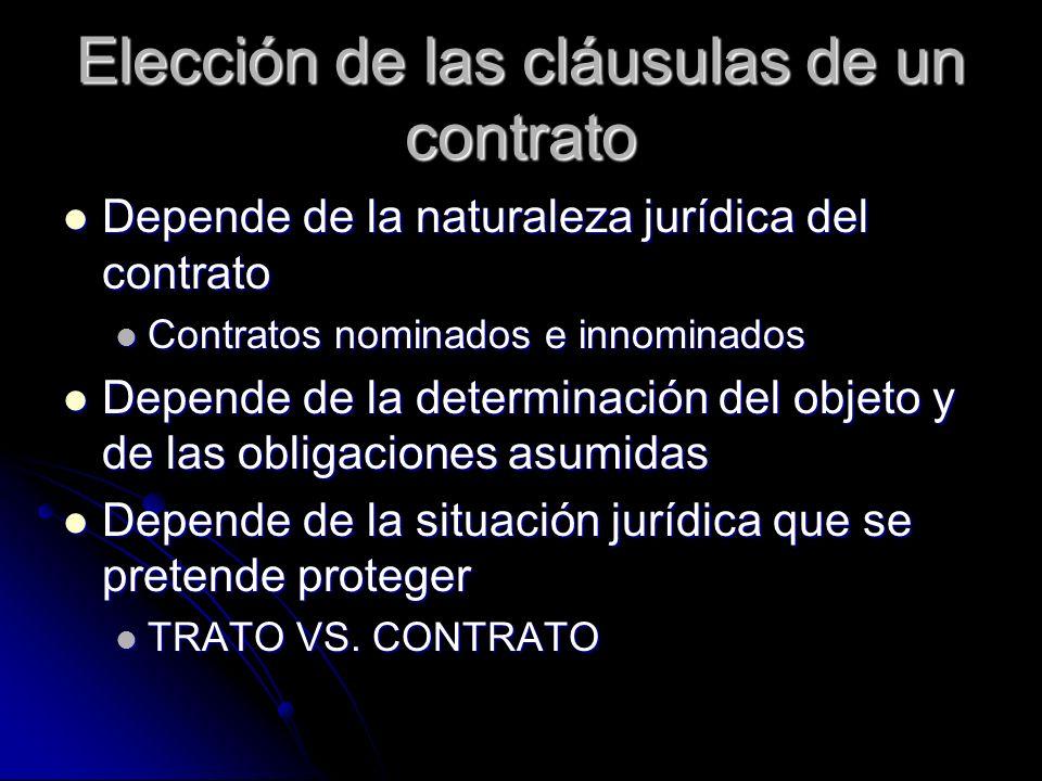 Elección de las cláusulas de un contrato