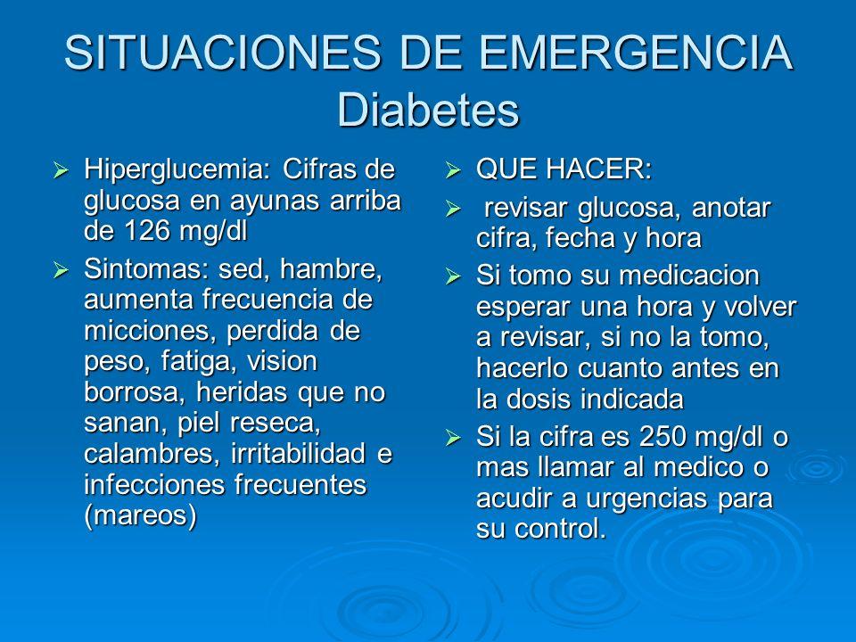 SITUACIONES DE EMERGENCIA Diabetes