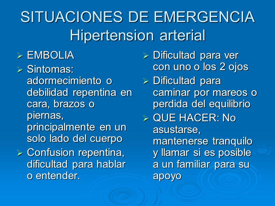 SITUACIONES DE EMERGENCIA Hipertension arterial