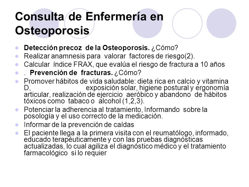 Consulta de Enfermería en Osteoporosis