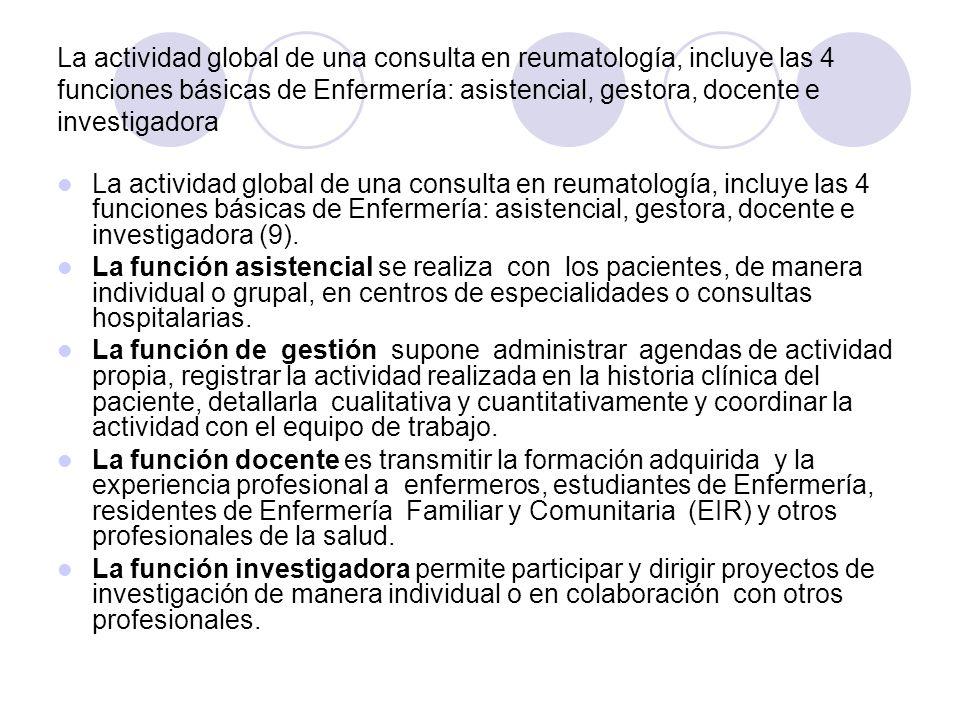 La actividad global de una consulta en reumatología, incluye las 4 funciones básicas de Enfermería: asistencial, gestora, docente e investigadora