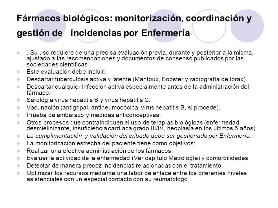 Fármacos biológicos: monitorización, coordinación y gestión de incidencias por Enfermería