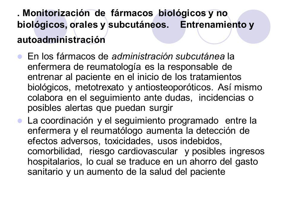 . Monitorización de fármacos biológicos y no biológicos, orales y subcutáneos. Entrenamiento y autoadministración