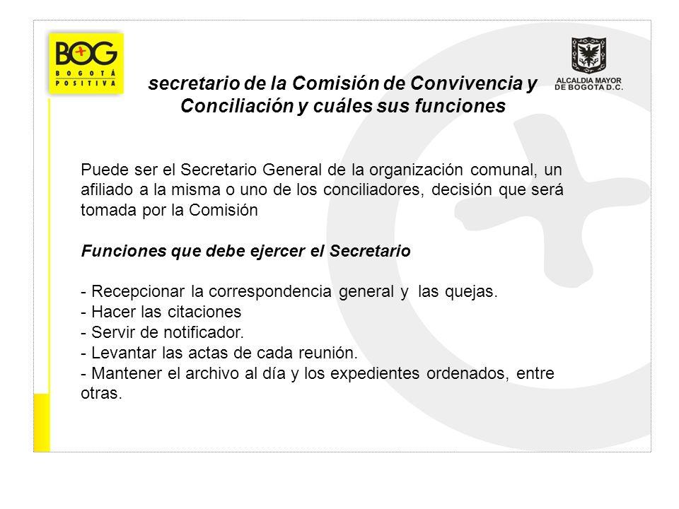 secretario de la Comisión de Convivencia y Conciliación y cuáles sus funciones