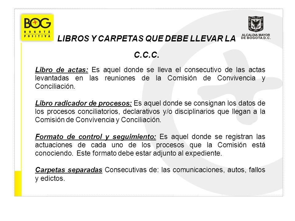 LIBROS Y CARPETAS QUE DEBE LLEVAR LA C.C.C.