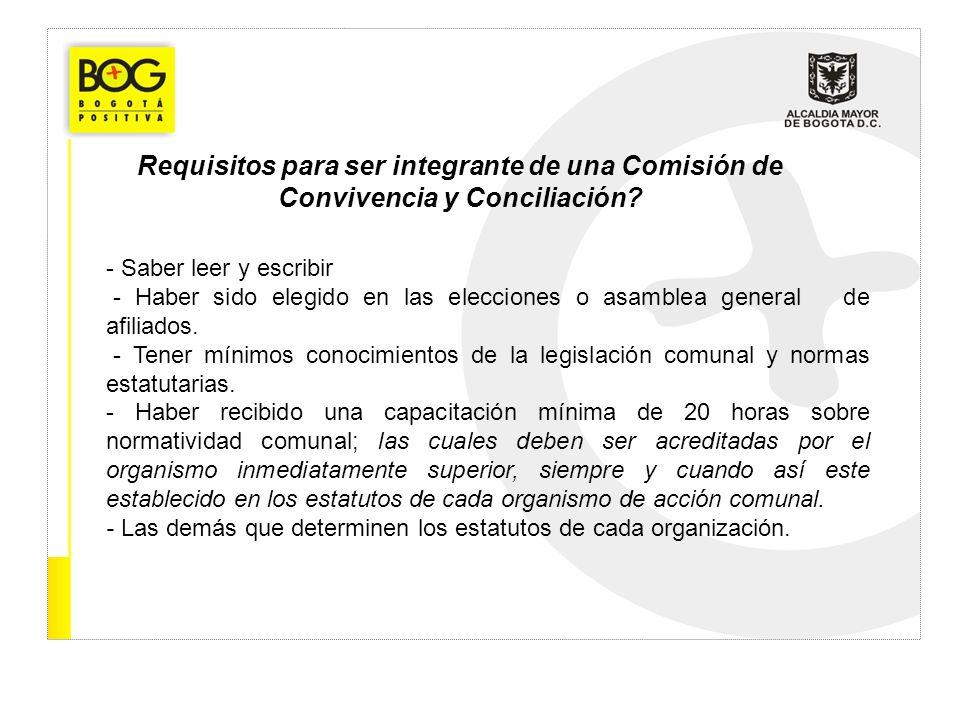 Requisitos para ser integrante de una Comisión de Convivencia y Conciliación