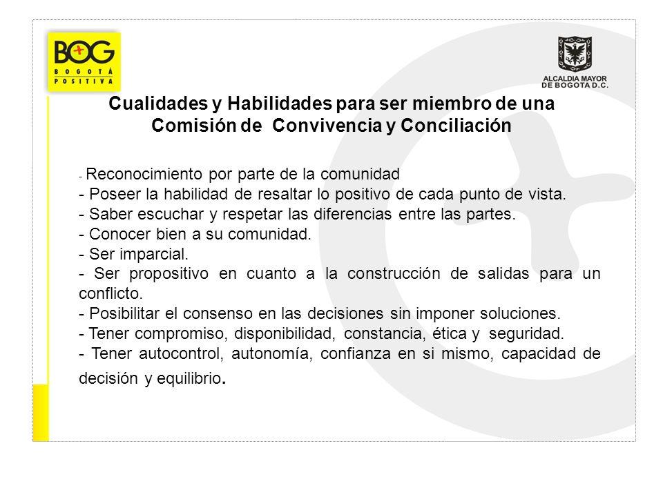 Cualidades y Habilidades para ser miembro de una Comisión de Convivencia y Conciliación