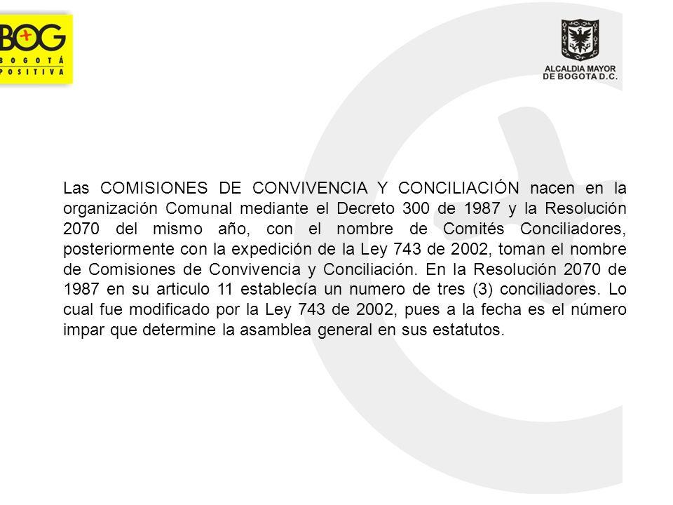 Las COMISIONES DE CONVIVENCIA Y CONCILIACIÓN nacen en la organización Comunal mediante el Decreto 300 de 1987 y la Resolución 2070 del mismo año, con el nombre de Comités Conciliadores, posteriormente con la expedición de la Ley 743 de 2002, toman el nombre de Comisiones de Convivencia y Conciliación.