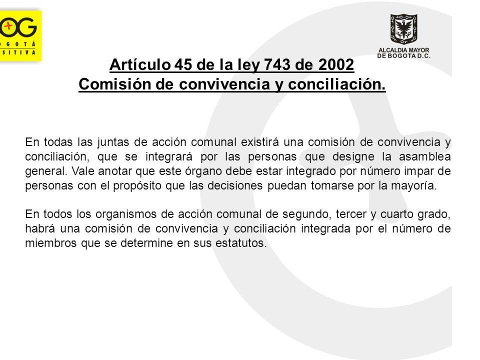 Artículo 45 de la ley 743 de 2002 Comisión de convivencia y conciliación.