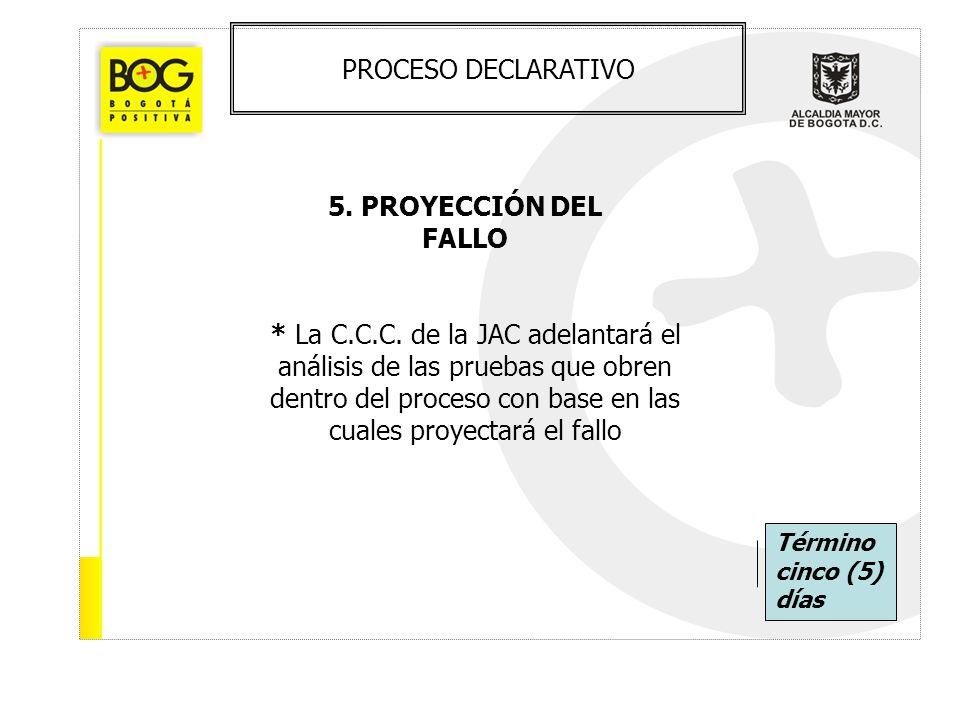 PROCESO DECLARATIVO 5. PROYECCIÓN DEL FALLO