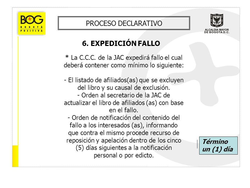 PROCESO DECLARATIVO 6. EXPEDICIÓN FALLO