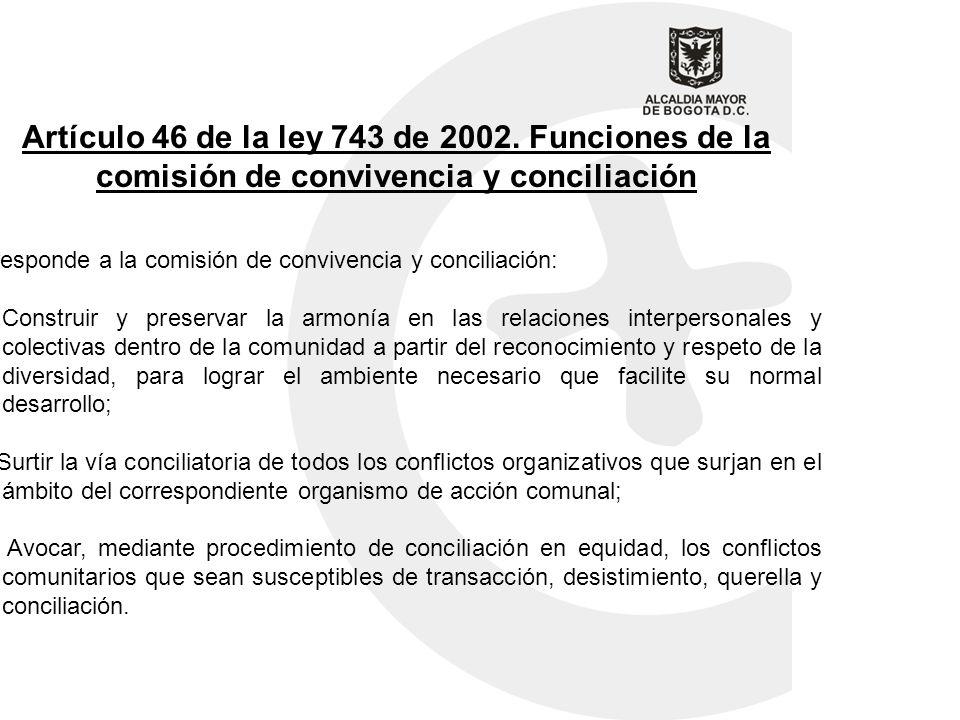 Artículo 46 de la ley 743 de 2002. Funciones de la comisión de convivencia y conciliación