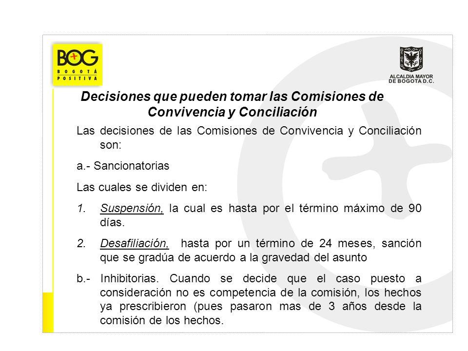 Decisiones que pueden tomar las Comisiones de Convivencia y Conciliación