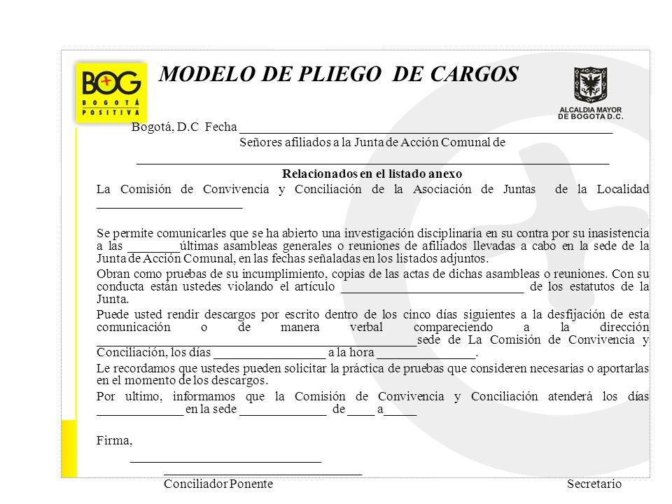 MODELO DE PLIEGO DE CARGOS