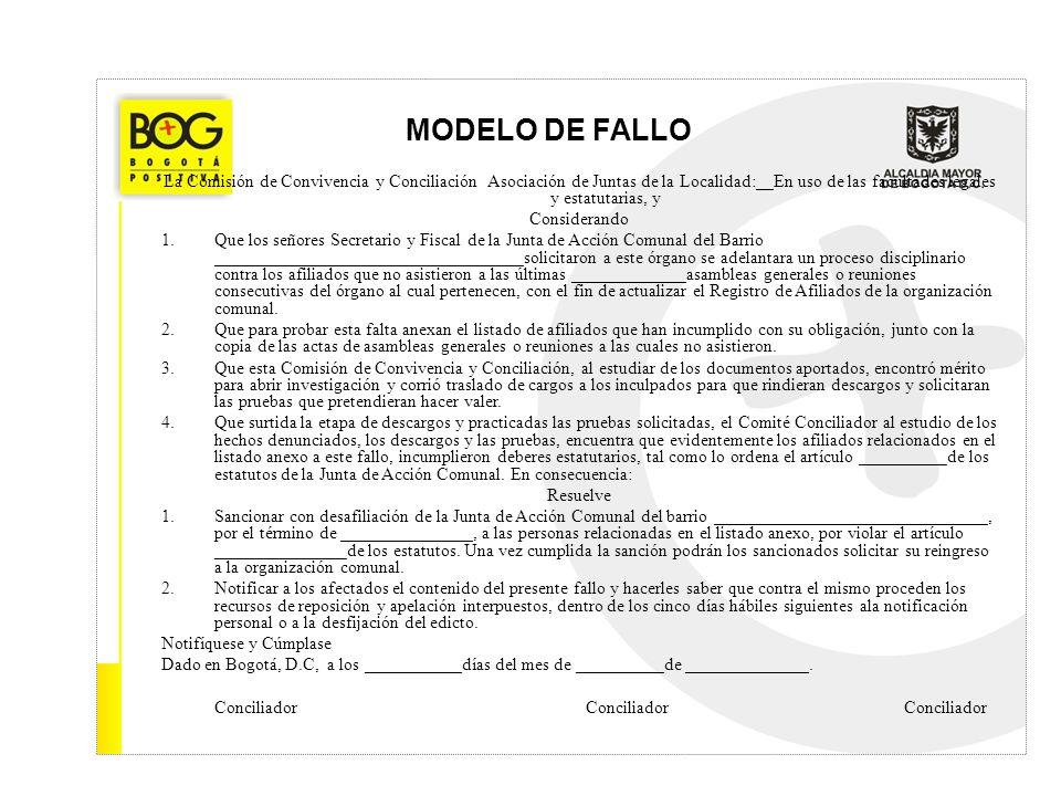 MODELO DE FALLO La Comisión de Convivencia y Conciliación Asociación de Juntas de la Localidad:__En uso de las facultades legales y estatutarias, y.