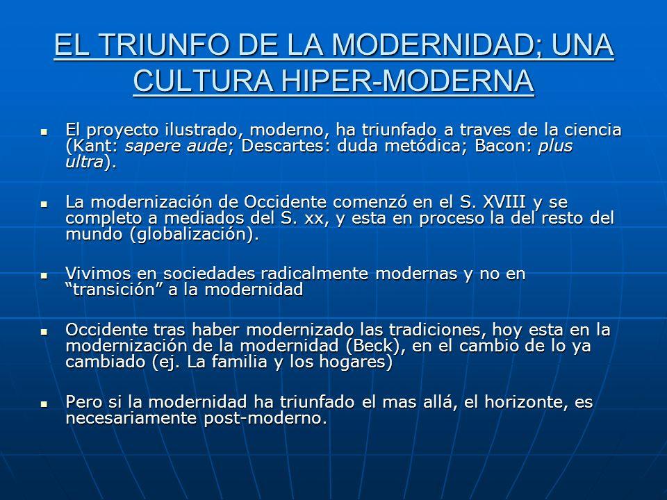 EL TRIUNFO DE LA MODERNIDAD; UNA CULTURA HIPER-MODERNA