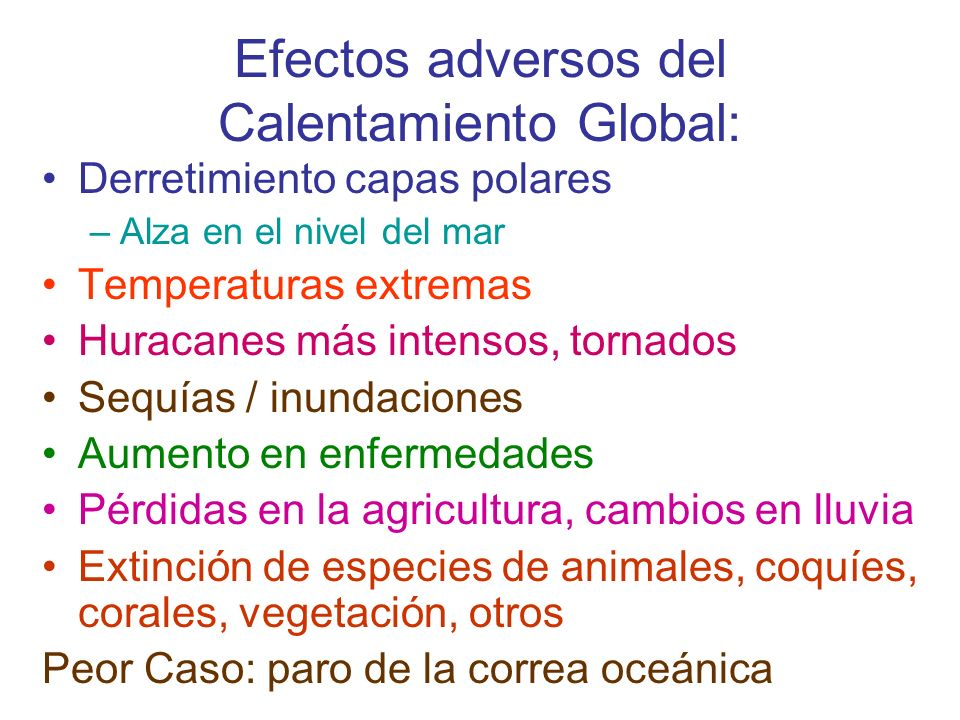 Efectos adversos del Calentamiento Global: