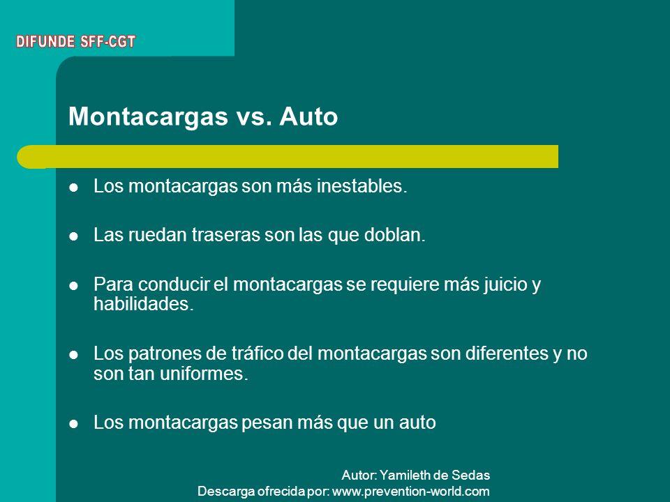Montacargas vs. Auto Los montacargas son más inestables.