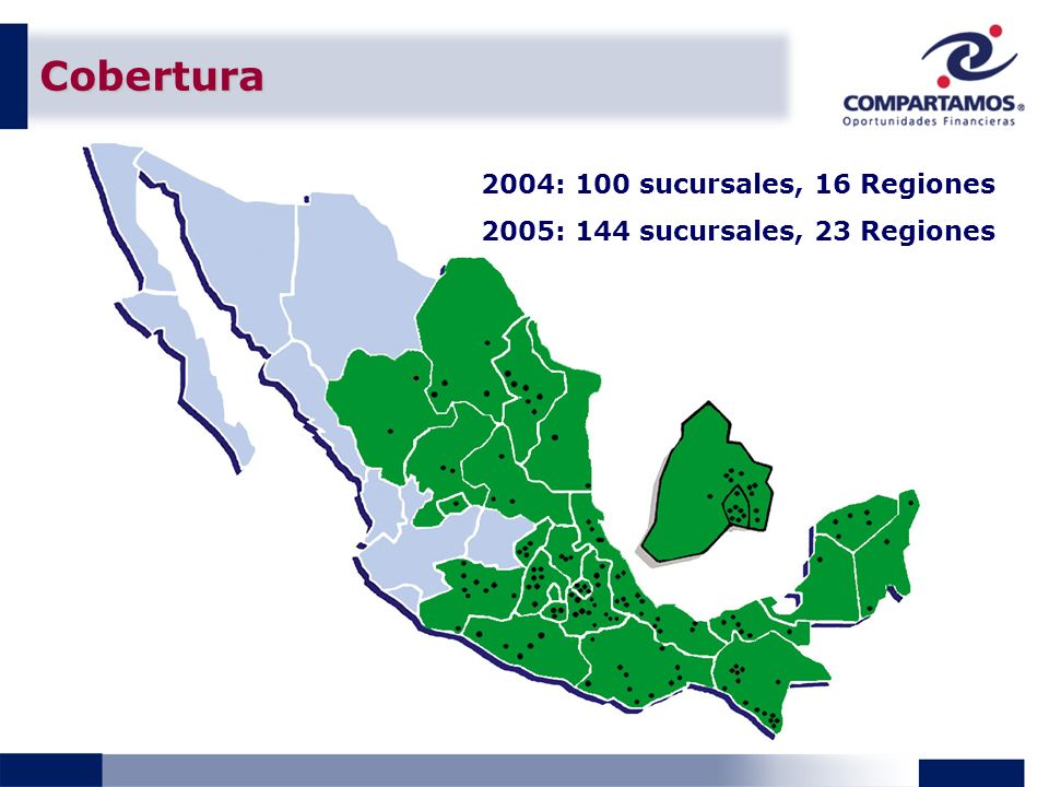 Cobertura 2004: 100 sucursales, 16 Regiones