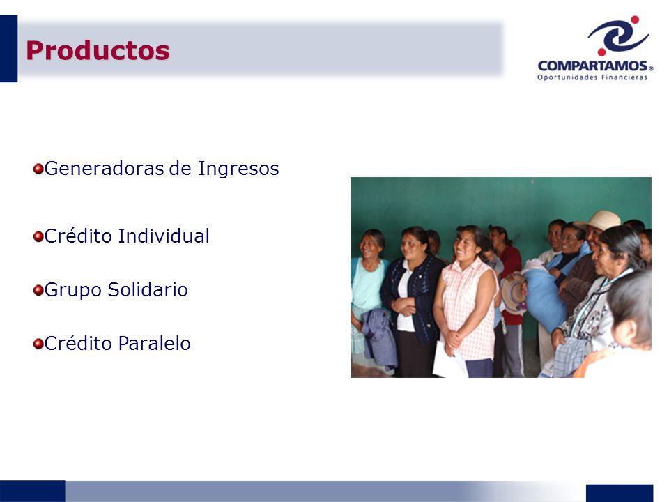 Productos Generadoras de Ingresos Crédito Individual Grupo Solidario
