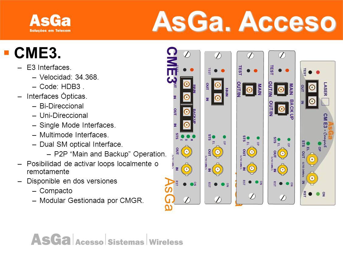 AsGa. Acceso CME3. CME3 AsGa E3 Interfaces. Velocidad: 34.368.