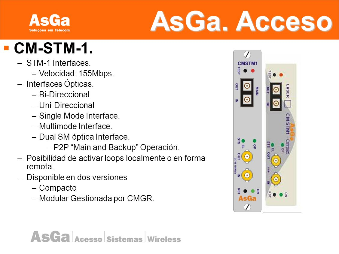 AsGa. Acceso CM-STM-1. STM-1 Interfaces. Velocidad: 155Mbps.